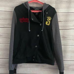 Stussy Hooded Black Graphic Sweatshirt Jacket